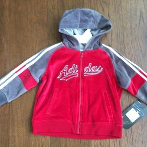 Adidas Velour Zip Up Hooded Sweatshirt 18 months